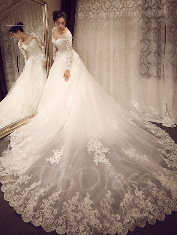 Trending Sweetheart Long Sleeves Lace Cathedral Train Wedding Dress