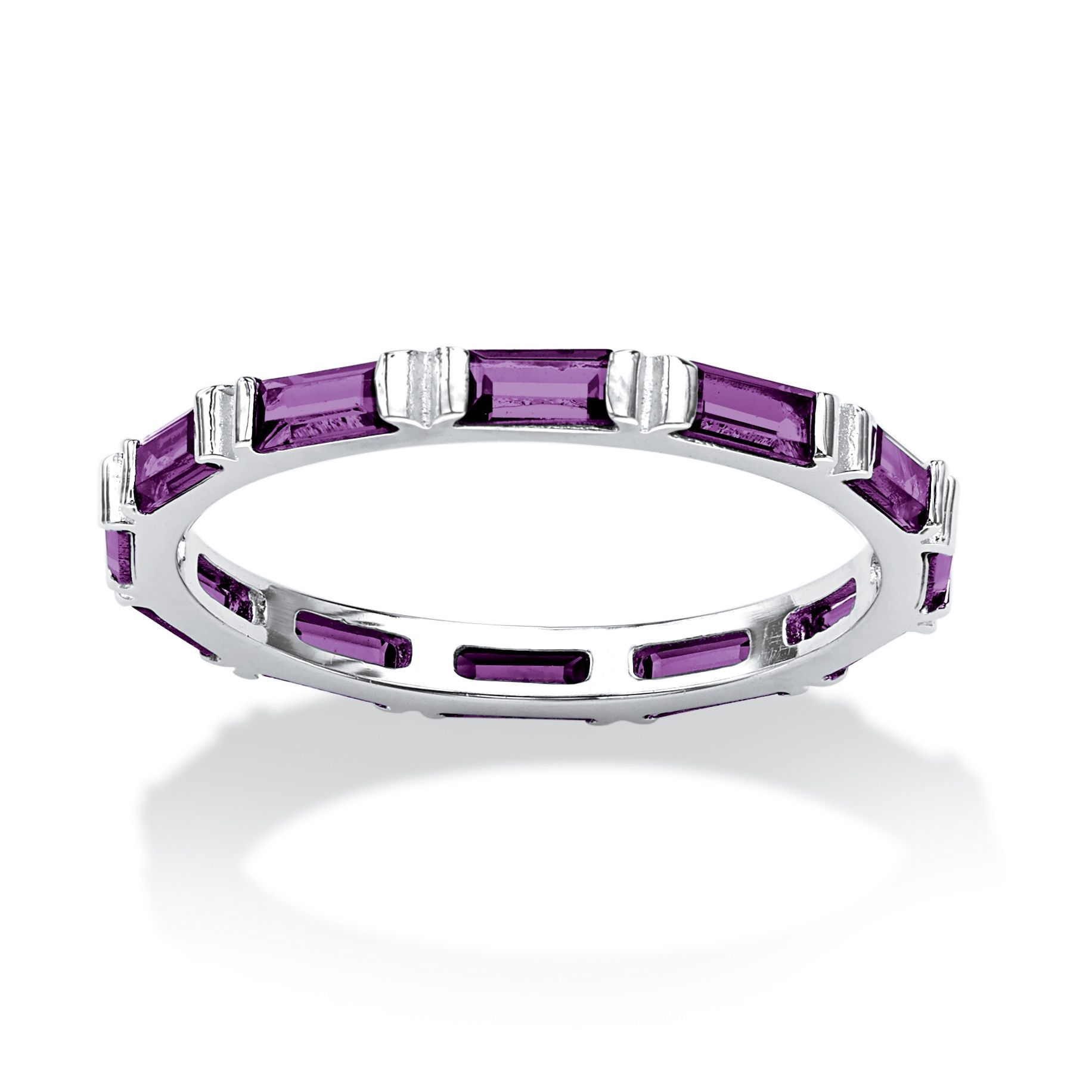 Baguette Birthstone Stackable Eternity Band in Sterling Silver at PalmBeach Jewelry~~$29.95
