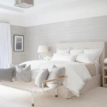 Best White And Beige Bedroom With Gray Grasscloth Wallpaper 640 x 480