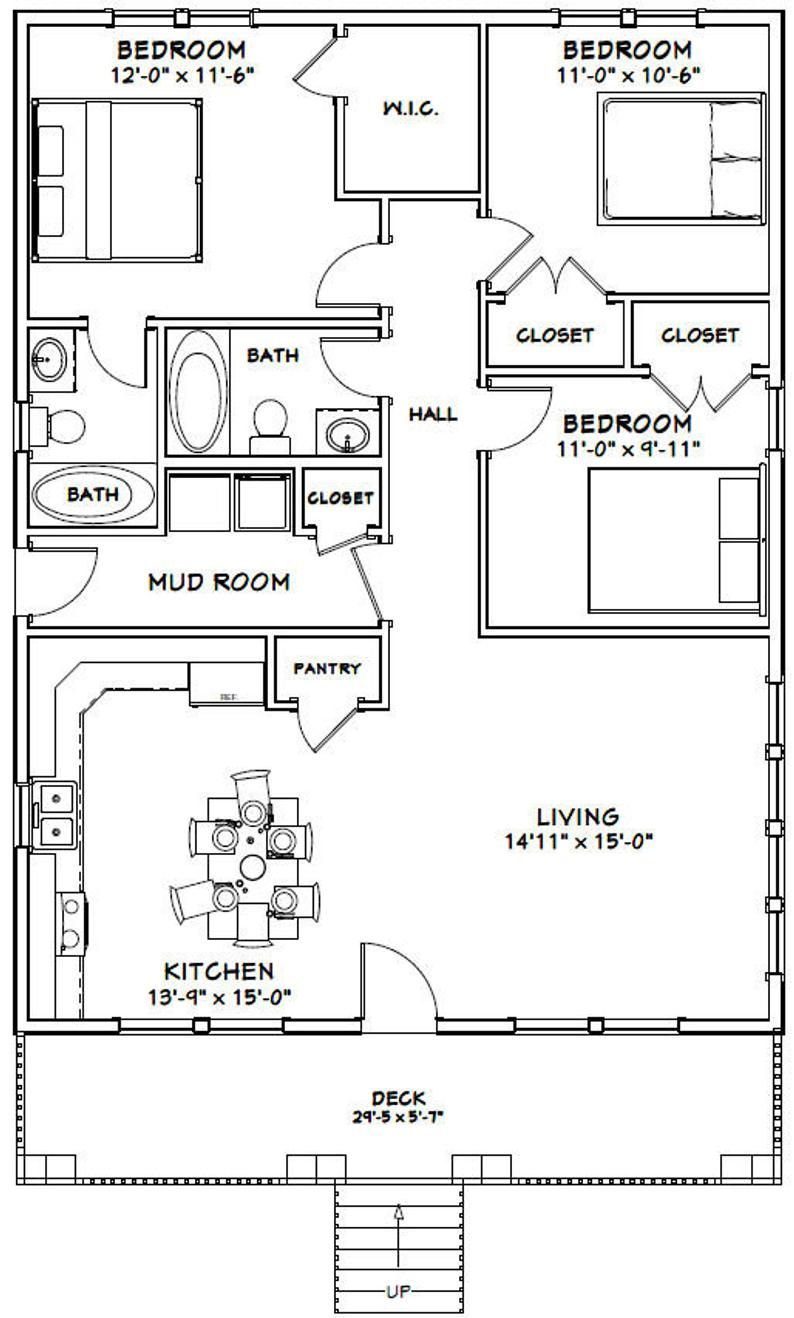 30x40 House 3 Bedroom 2 Bath 1 200 Sq Ft Pdf Floor Plan Instant Download Model 2a In 2021 Small House Floor Plans House Layout Plans Cabin Floor Plans