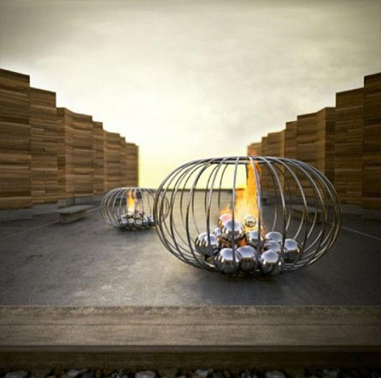 unusual modern fireplaces unique fire cage | Fireplace ...