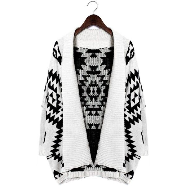 Chicwish Aztec Open Knit Cardigan ($39) ❤ liked on Polyvore featuring tops, cardigans, outerwear, chicwish, sweaters, aztec top, aztec cardigan, aztec print cardigan, white top and aztec pattern cardigan