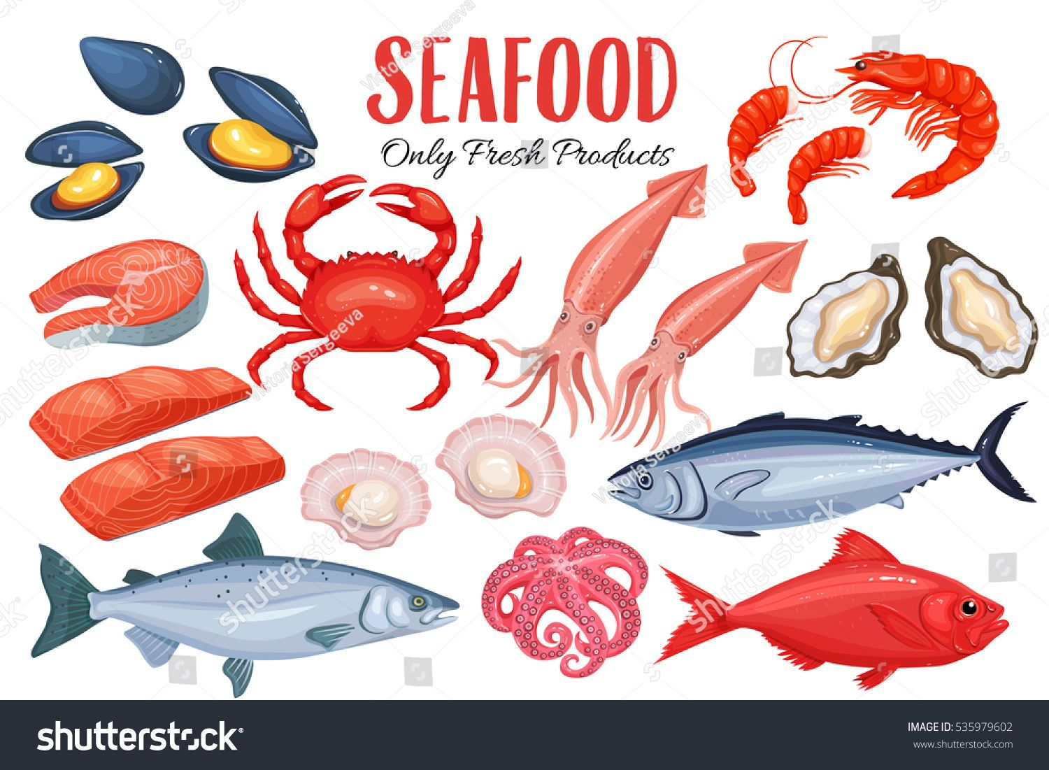 Seafood In Cartoon Style Vector Icons Mussel Fish Salmon Shrimp Squid Octopus Scallop Lobster Craps Mollusk Oyste Cartoon Styles Cartoon Fish Seafood