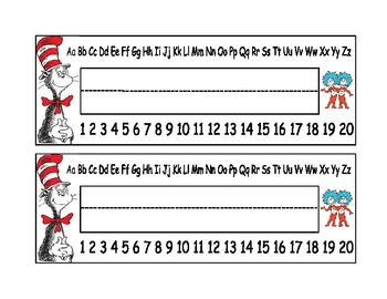 Dr Seuss student desk name plates