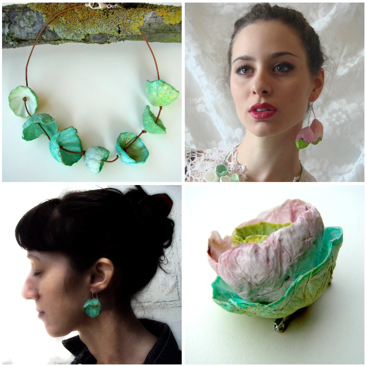 Eco design:  eco gioielli di carta. Handmade, statement, paper jewelry : necklace, ring earrings ... by Alessandra Fabre Repetto Rome Italy