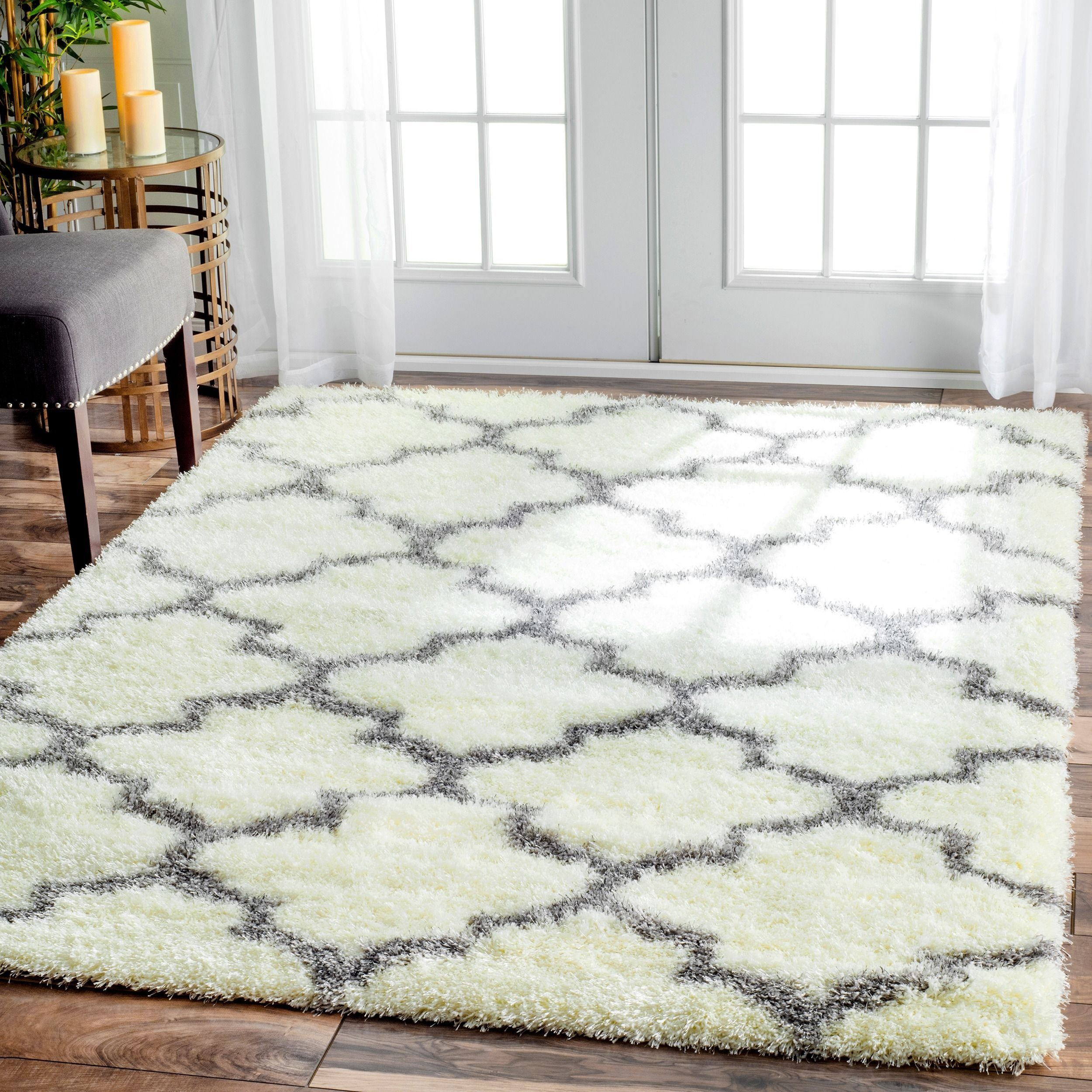 soft and plush, this cozy moroccan trellis rug adds warmth and