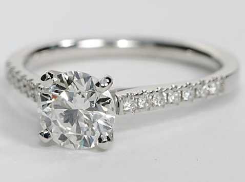 Simple But Elegant Engagement Ring With A Thin Band With Pave