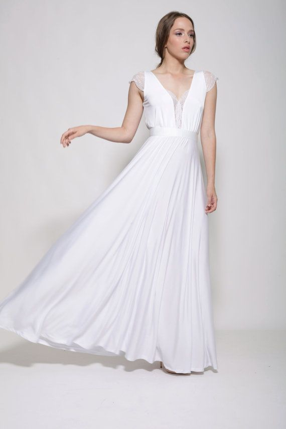 Wedding Dress Simple Floor Length Wedding Dress White