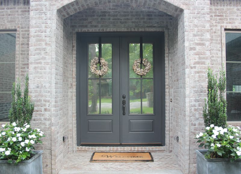 Front door painted benjamin moore wrought iron new house - Painted brick exterior pictures set ...