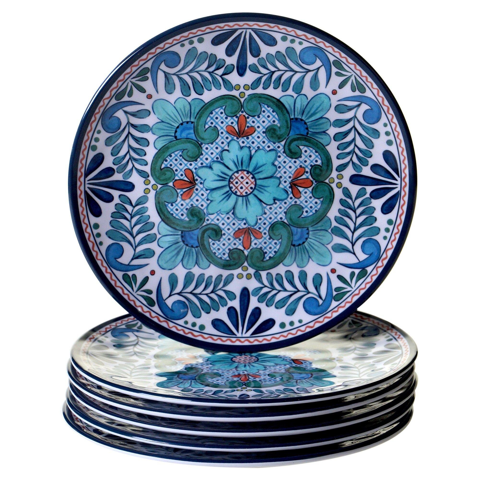 Certified International Talavera by Nancy Green Melamine Salad Plates 9\  Blue - Set of 6  sc 1 st  Pinterest & Certified International Talavera by Nancy Green Melamine Salad ...