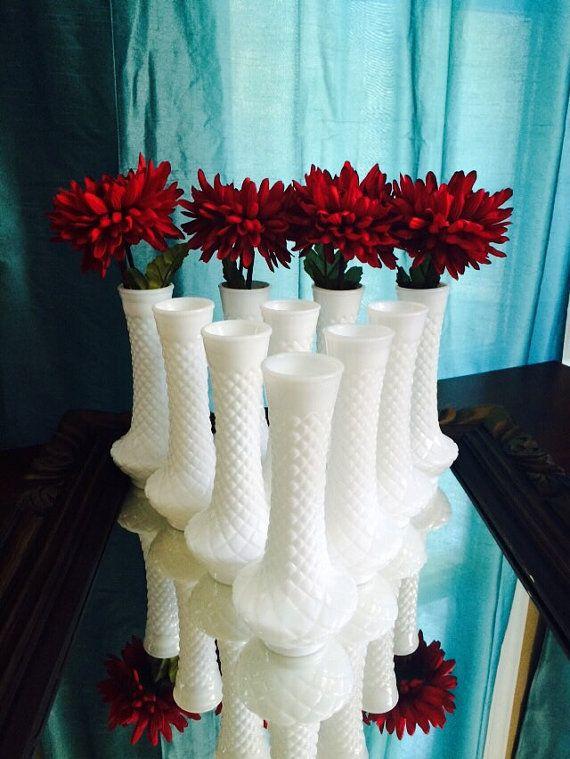 Milk Gl Vase Set of 10 Milkgl White Matching Flower Bud Vases ... Quilted Gl Vase on