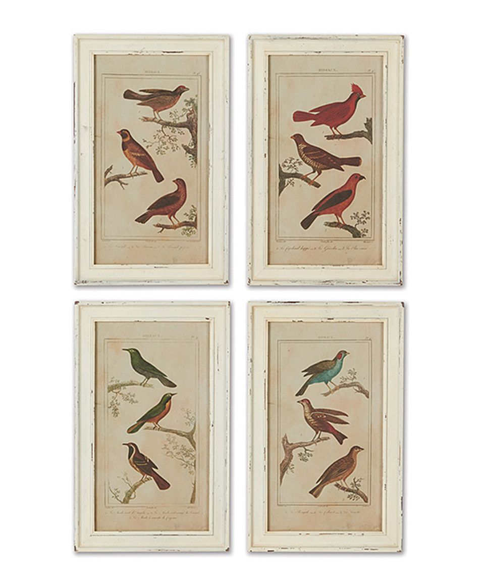 This Aviary Framed Print Set by Napa Home & Garden is
