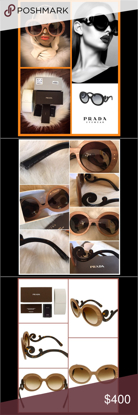a0aae311087c ️Prada Women s Baroque SPR27R SPR 27 R IAM-6S1 Wood Nut Canaletto Sunglasses  55mm. Be BOLD. Be AUTHENTIC. Don t miss this exclusive design from the Prada  ...