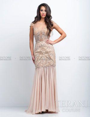 874f50162 Vestido de Festa Longo com Pedrarias e Chiffon Terani 151GL0338A : Dstore,  As Melhores Grifes dos EUA - Site Oficial