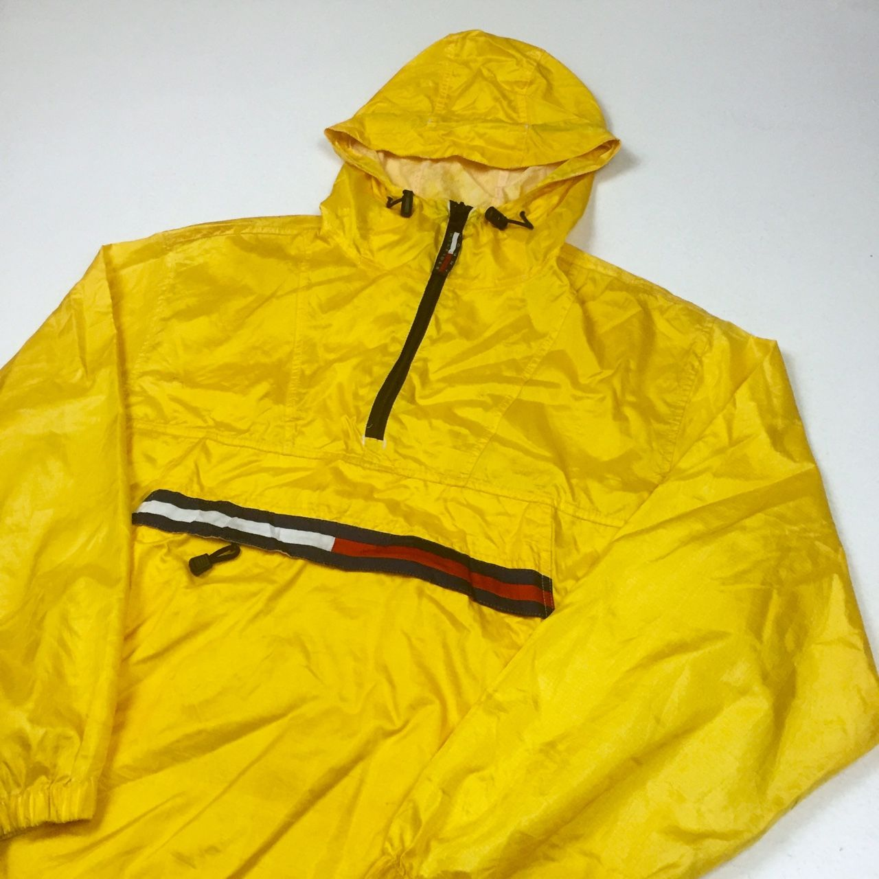 6a515d8d Tommy Hilfiger Yellow Pullover Rain Jacket • Size Medium, fits oversized •  Shows some signs of wear as pictured as you'd expect from a vintage piece