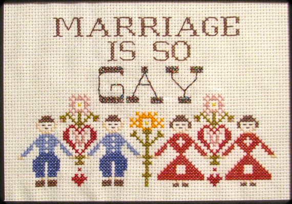 PATTERN ONLY Marriage is so GAY. $6.00, via Etsy.