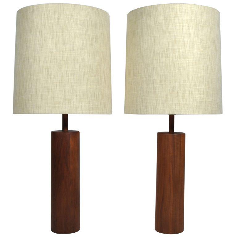 1stdibs | Stunning Martz Solid Walnut Table Lamps For Marshall Studios