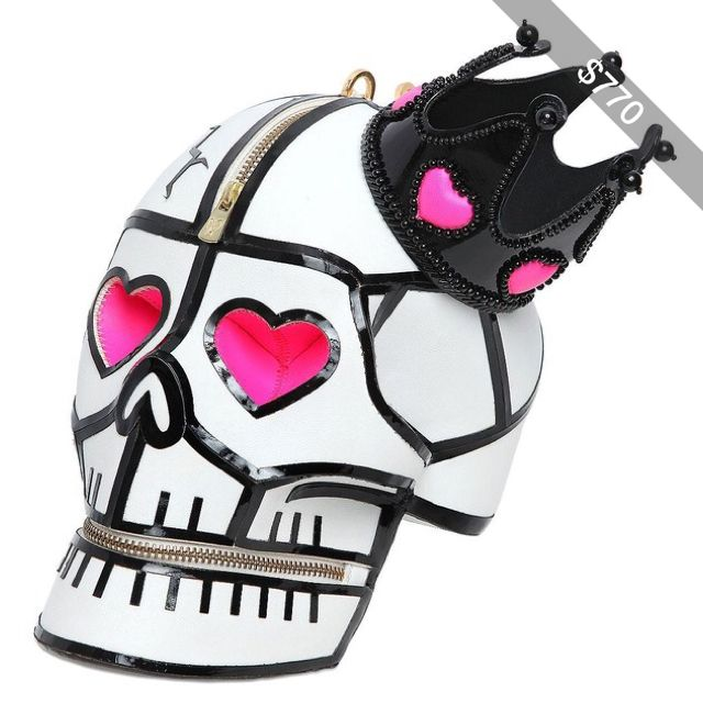 MANISH ARORA Leather Skull Clutch With Crown