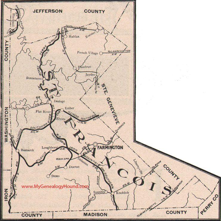 St. Francois County Missouri Map 1904 Farmington, Bonne Terre, Dor Run, Desloge, French Village, Bismarck, Knob Lick, MO