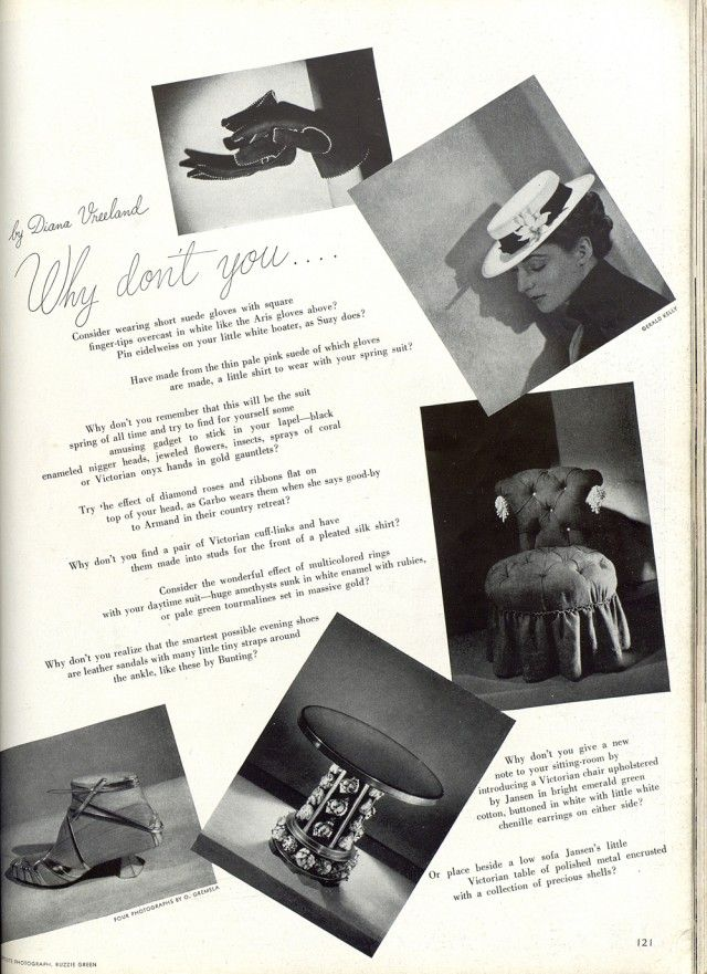 WHY DONu0027T YOU the double pages by Diana Vreeland, Harperu0027s Bazaar - double first