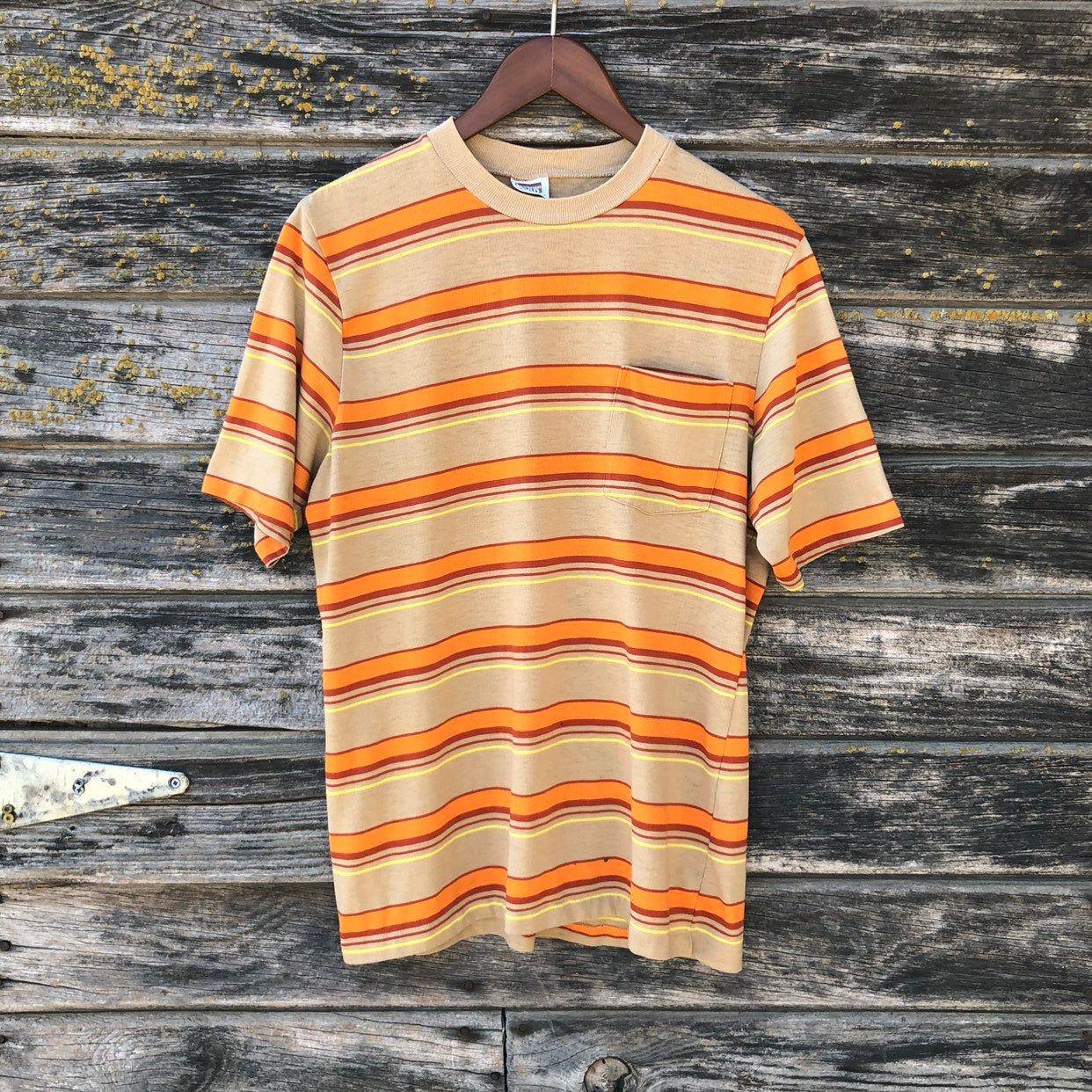 Vintage Striped T Shirt 70s Burnt Orange Mustard Yellow Brown Grunge Stripe Pocket Tee Ringer Soft Thin Distre Yellow Striped Shirt Stripe Tshirt Orange Outfit