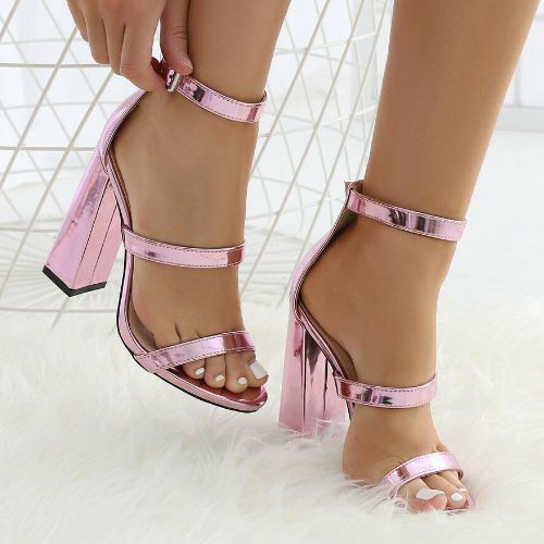 44d13172e70 Metallic Pink Chunky Heel Sandals sexy fashion pink shoes glitter boots  high heels sparkle fad flirty outfit sandals trend metallic chunky