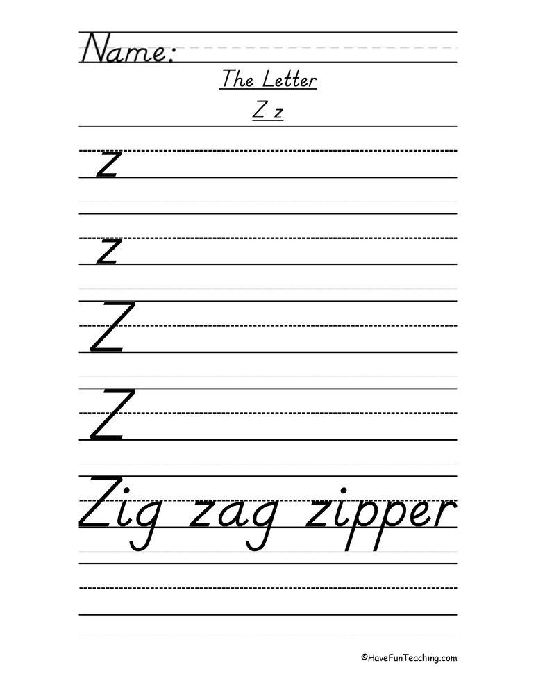 Letter Z D'Nealian Style Handwriting Practice Worksheet in