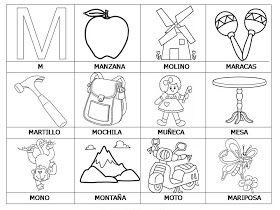Laminas Con Dibujos Para Aprender Palabras Y Colorear Con Letra M Letras M Para Colorear Dibujo Letra M Preescolar Palabras Con M Actividades Con Palabras
