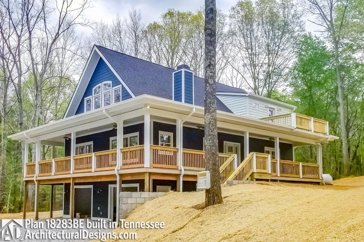 plan 18283be rear sloping house plan with magnificent
