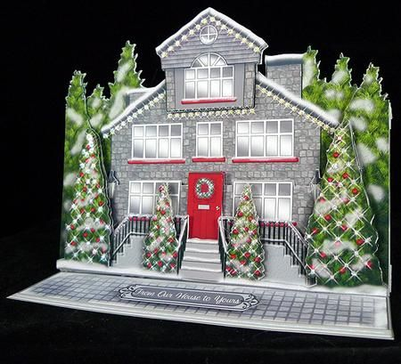 """Christmas House 4 Card Mini Kit on Craftsuprint designed by Sandie Burchell - made by Peggy Stogdill - Printed on 250gm matte photo paper, and assembled per the included instructions (I used strong dst, a glue stick, and silicone gel). Finished with Stickles Ice Crystal glitter on all the """"lights"""". Beautiful for display, yet easily folds flat for mailing. - Now available for download!"""