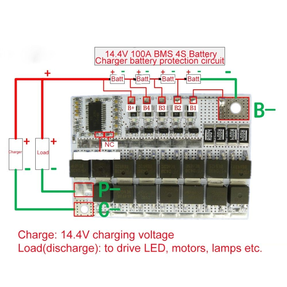4s 14 4v 100a Bms 18650 Li Ion Lifepo4 Life Lmo Pcb Bms 4s Circuit Module Phone Battery Charger Battery Charger Circuit Mobile Battery Charger