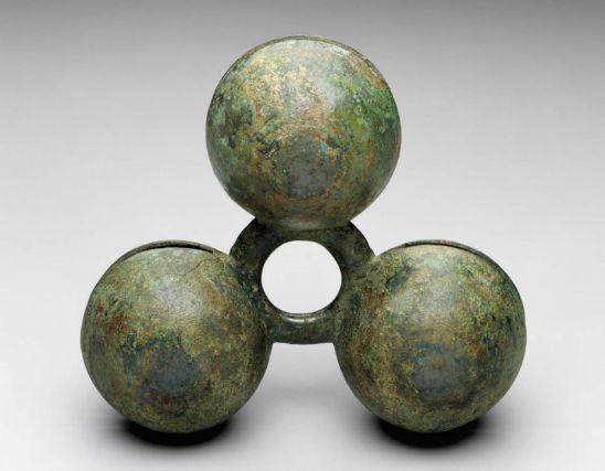 Ring with three bells Japanese, Kofun period, 6th century, Bronze, MFA
