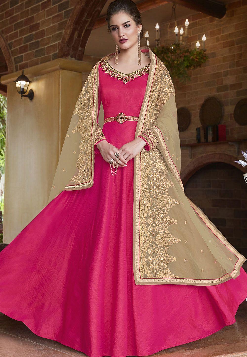 806119fc44 Rani banarasi silk Indian wedding wear anarkali suit 4507 | Party ...