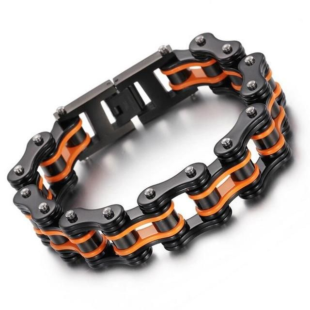 Black Orange Bike Chain Bracelet With Crystals Bike Chain