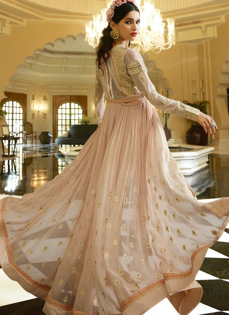 Light pink and gold embroidered anarkali long dresses that i love