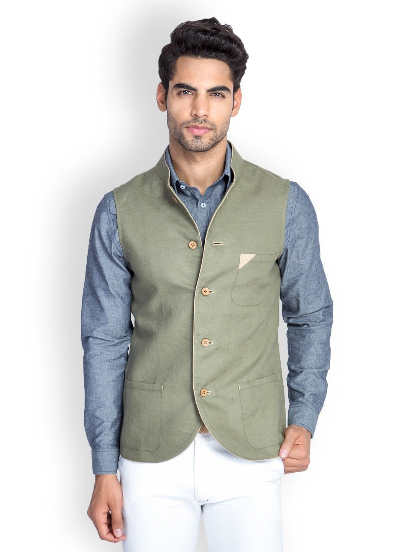 Mr Button Men Olive Green Linen Slim Fit Nehru Jacket