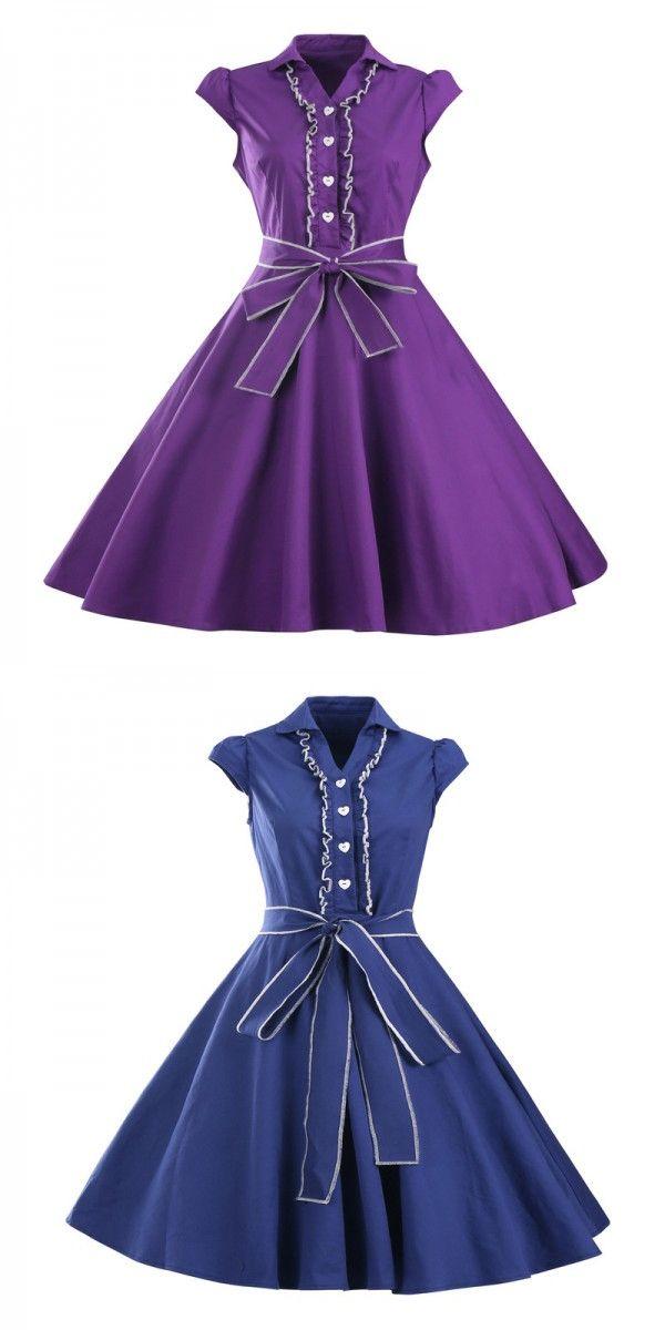 Mint 50s V-Neck Cap Sleeves Ruffles Vintage Dress