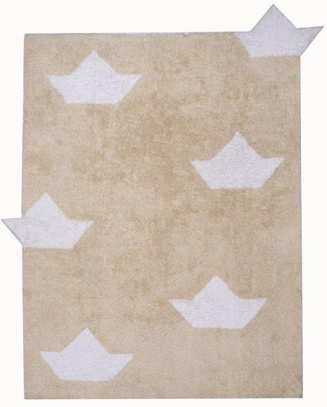 Kinderteppich, verspielt im Schiff Design, 100 Baumwolle - kinder teppich beige gelb