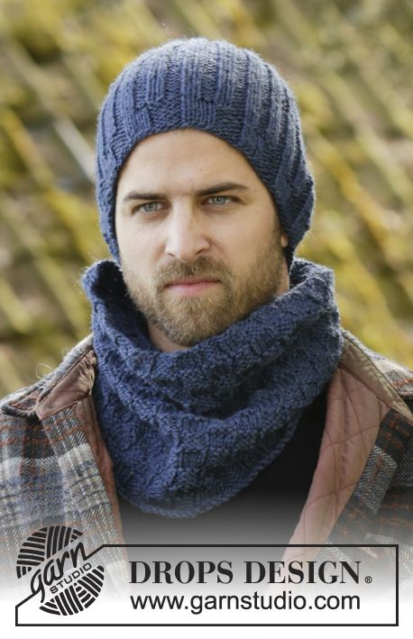 Set consists of: Knitted DROPS men\'s hat and neck warmer with ...