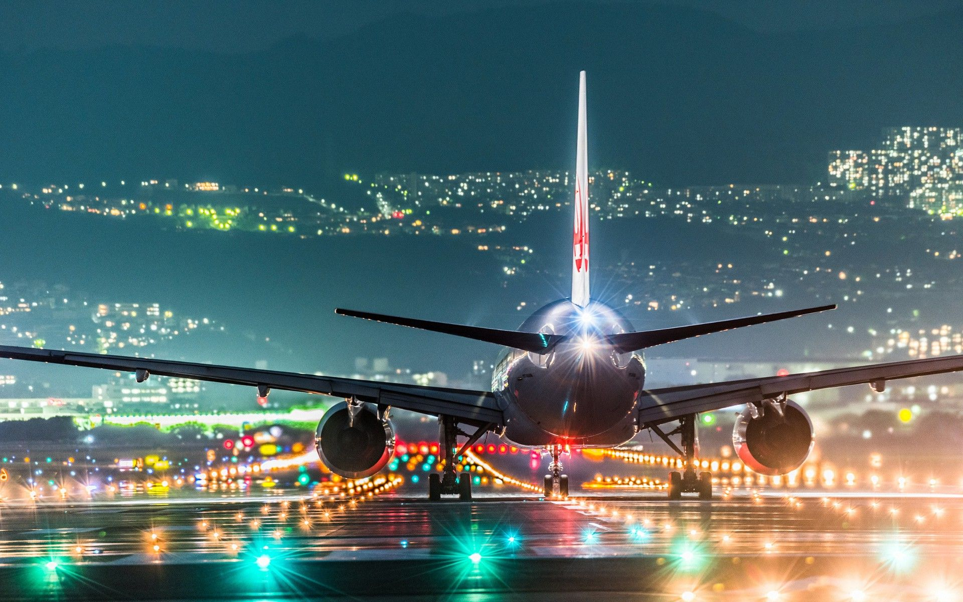 Plane Landing On Night Airport Runway Lights Wallpaper HD