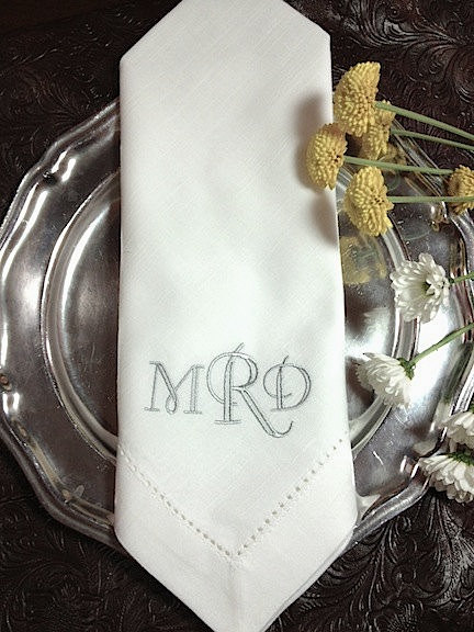 Set Of 4 Crown Monogrammed Embroidered Cloth Dinner Napkins Cotton Poly Hostess Gift Wedding Personalized