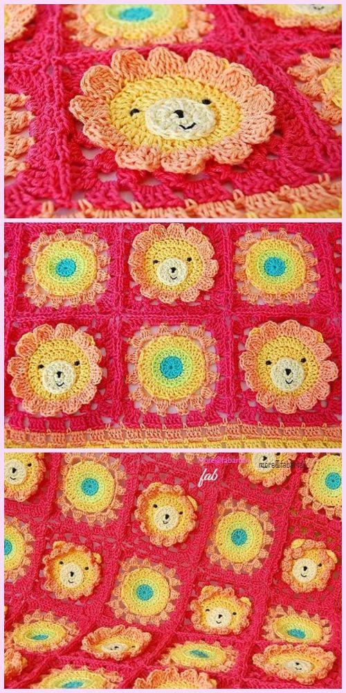 Lion Animal Baby Blanket Crochet Pattern | Pinterest | Manta ...
