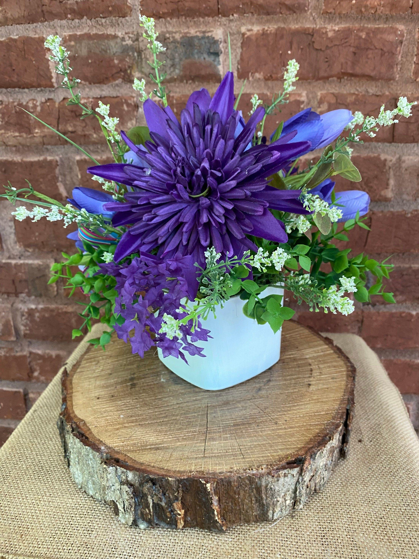 Kitchen Floral Purple Kitchen Centerpiece Summer Decor Etsy In 2021 Summer Floral Decor Table Floral Arrangements Purple Kitchen Decor