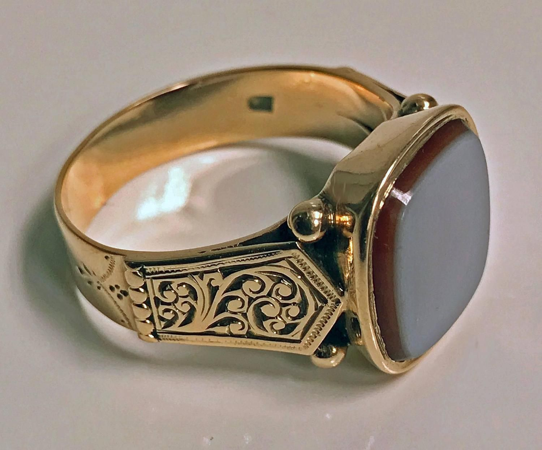 Gentleman S Antique Sardonyx Gold Signet Ring Austria