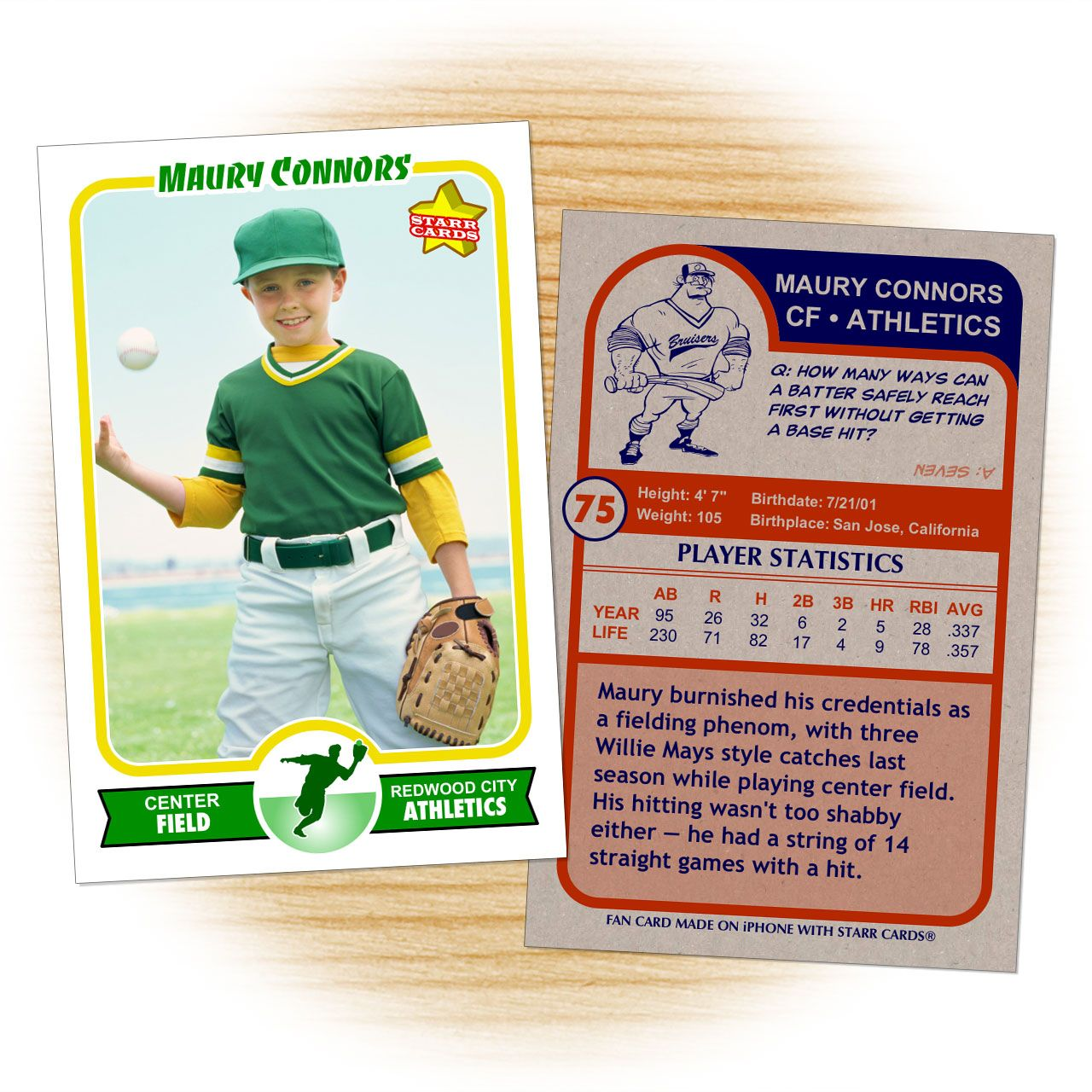Retro 75 series is the primary custom baseball card design within starr cards award winning for Baseball card back template