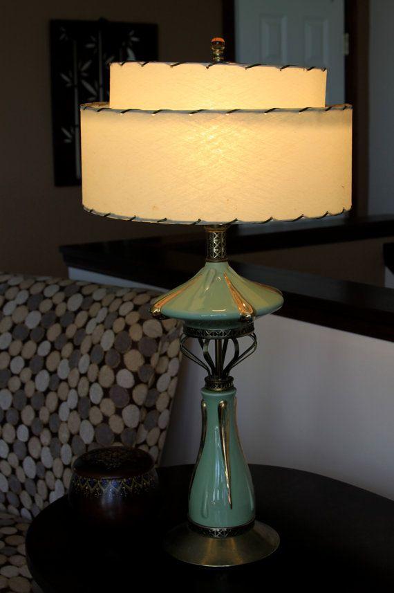 Uberlegen Mid Century Modern Lamp With Fiberglass Shade By Concealedjewel, $95.99