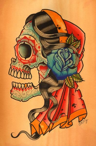 Pin On Gypsy Sugar Skull Tattoo
