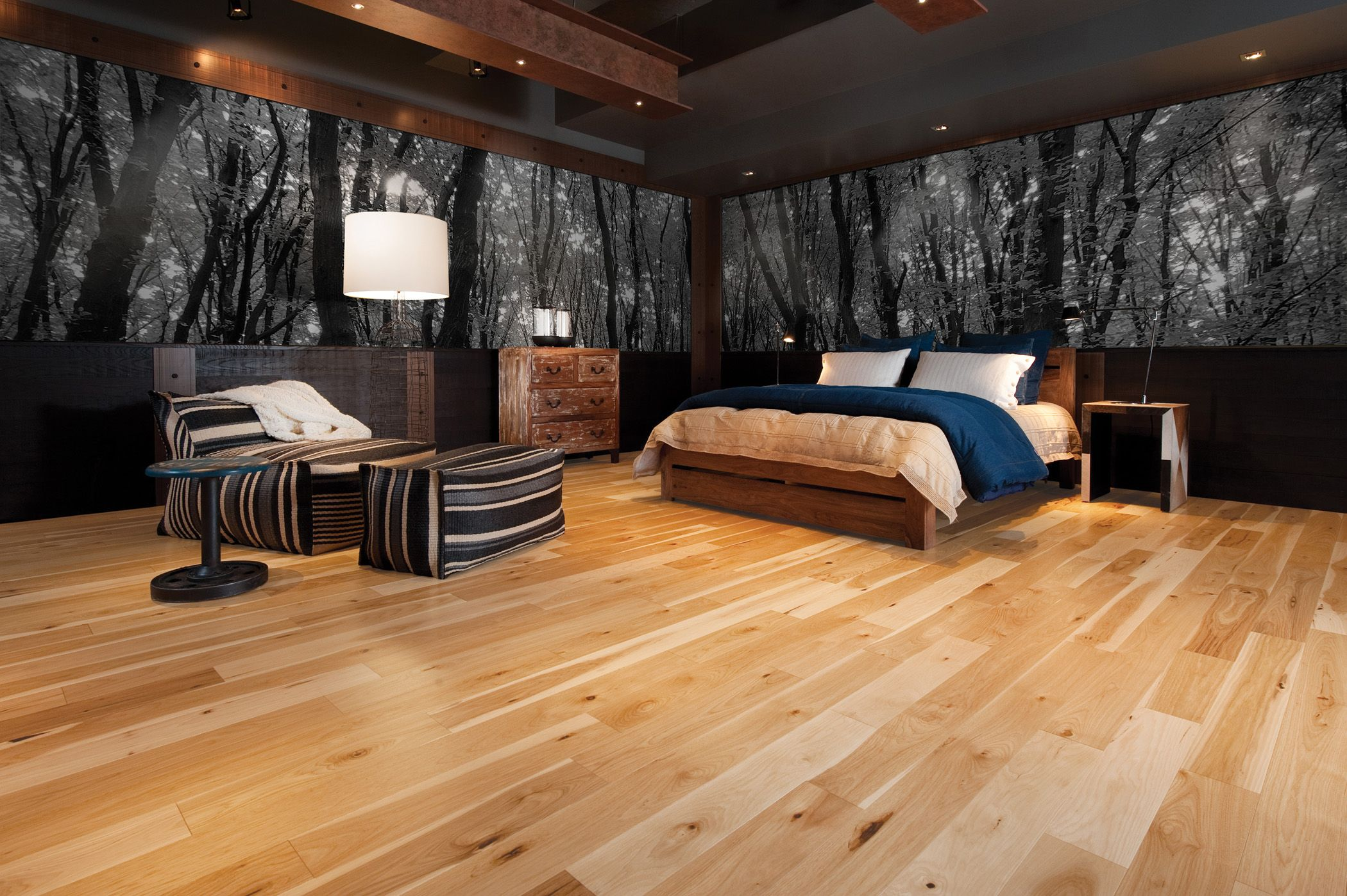 Wide Plank Hickory Floors Are A Stunning Backdrop To Any Style Decor These Floors Are Finishes Natur Wood Bedroom Design Floor Design Hardwood Bedroom Floors