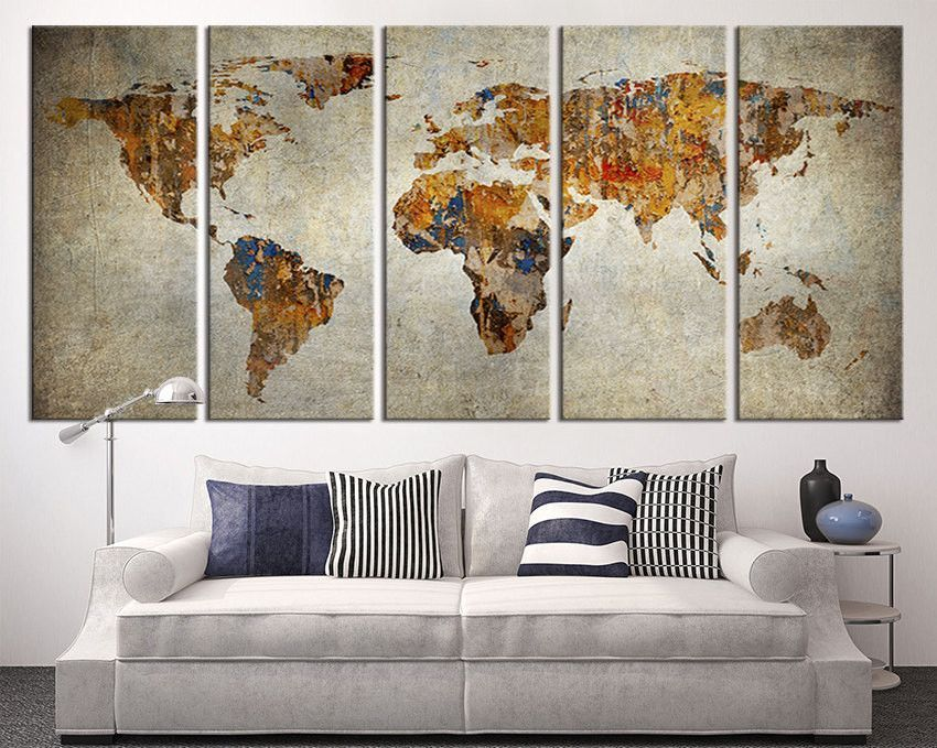 large canvas print rustic world map large wall art world map art extra large