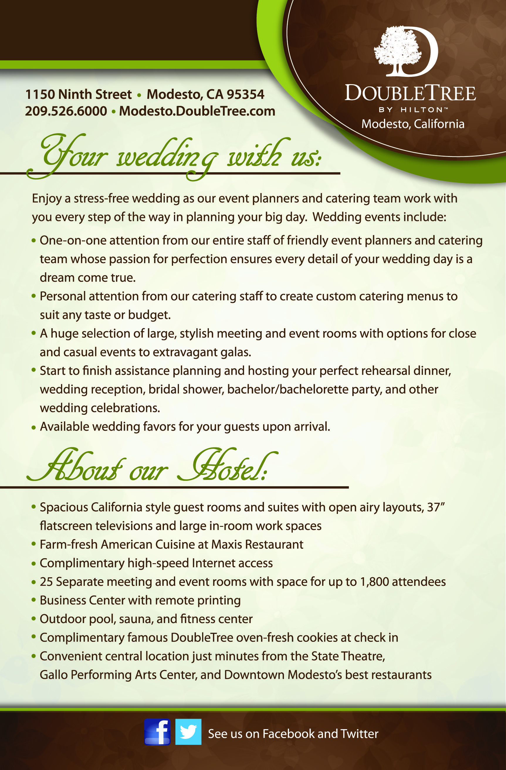 Wedding Flyer Back View Designed For The Doubletree By Hilton